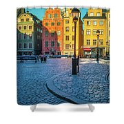 Stockholm Stortorget Square Shower Curtain by Inge Johnsson