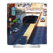 Stockton Street Tunnel in Heavy Shadow . Long Version Shower Curtain by Wingsdomain Art and Photography