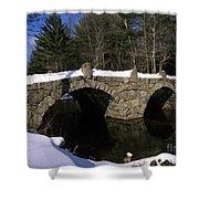 Stone Double Arched Bridge - Hillsborough New Hampshire Usa Shower Curtain by Erin Paul Donovan