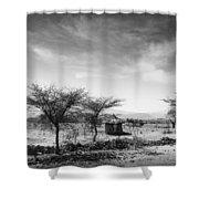 Stone Hut Set In Grassland Plains Shower Curtain by David DuChemin