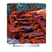 Stone Steps In Autumn Shower Curtain by Jeff Kolker