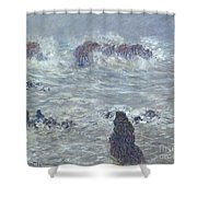 Storm Off The Coast Of Belle Ile Shower Curtain by Claude Monet