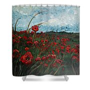 Stormy Poppies Shower Curtain by Nadine Rippelmeyer