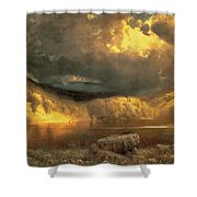 Stormy Skies Above Echo Lake White Mountains Shower Curtain by Fairman California