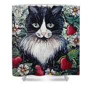 Strawberry Lover Cat Shower Curtain by Natalie Holland