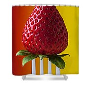 Strawberry On Fork Shower Curtain by Garry Gay