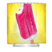 Strawberry Popsicle Shower Curtain by Carlos Caetano