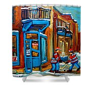 Street Hockey At Wilensky's Montreal Shower Curtain by Carole Spandau