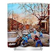 Street Hockey On Jeanne Mance Shower Curtain by Carole Spandau