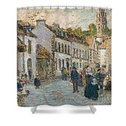 Street In Pont Aven Shower Curtain by Childe Hassam