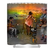Street Musicians In Prague In The Czech Republic 03 Shower Curtain by Miki De Goodaboom