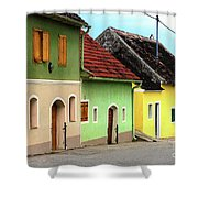 Street Of Wine Cellar Houses  Shower Curtain by Mariola Bitner
