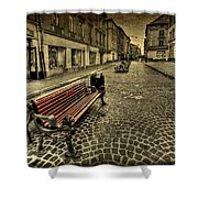 Street Seat Shower Curtain by Evelina Kremsdorf