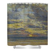 Study Of The Sky With Setting Sun Shower Curtain by Eugene Louis Boudin