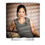 Stylish vintage asian pin-up lady with cigarette Shower Curtain by Ryan Jorgensen