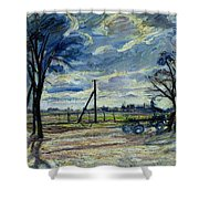 Suburban Landscape In Spring  Shower Curtain by Waldemar Rosler