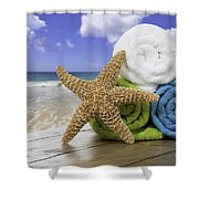 Summer Beach Towels Shower Curtain by Amanda And Christopher Elwell