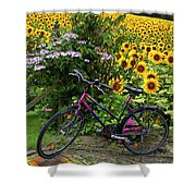 Summer Cycling Shower Curtain by Debra and Dave Vanderlaan