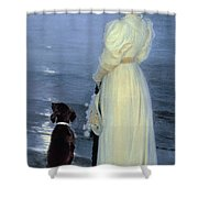Summer Evening At Skagen Shower Curtain by Peder Severin Kroyer