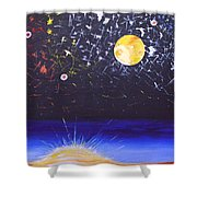 Sun Moon and Stars Shower Curtain by Donna Blossom