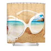 Sunglasses In The Sand Shower Curtain by Amanda Elwell