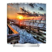 Sunrise At Cotton Bayou  Shower Curtain by Michael Thomas