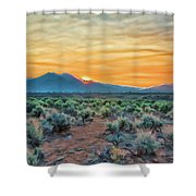 Sunrise Over Taos Shower Curtain by Charles Muhle