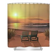 Sunset Beach Shower Curtain by Corey Ford
