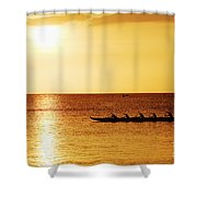 Sunset Canoe Shower Curtain by Vince Cavataio - Printscapes