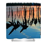 Sunset In Colonial Beach Virginia Shower Curtain by Clayton Bruster