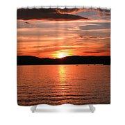 Sunset-lake Waukewan 1 Shower Curtain by Michael Mooney