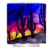 Sunset On Cactus Shower Curtain by Michael Grubb