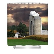 Sunset On The Farm Shower Curtain by David Dehner