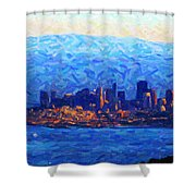 Sunset Over San Francisco Bay Shower Curtain by Wingsdomain Art and Photography