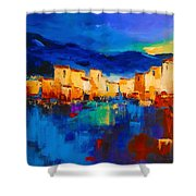 Sunset Over The Village Shower Curtain by Elise Palmigiani