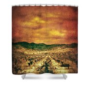 Sunset Over Vineyard Shower Curtain by Jill Battaglia