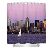 Sunset Sail In Puget Sound Shower Curtain by Adam Romanowicz