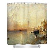 Sunset Venice Shower Curtain by Thomas Moran