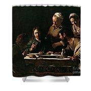Supper At Emmaus Shower Curtain by Michelangelo Merisi da Caravaggio