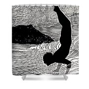 Surfer and Waikiki Shower Curtain by Hawaiian Legacy Archive - Printscapes