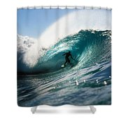 Surfer At Pipeline Shower Curtain by Vince Cavataio - Printscapes
