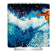 Surfer Girl Shower Curtain by Hanne Lore Koehler