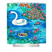 Swan And Duck Shower Curtain by Sushila Burgess