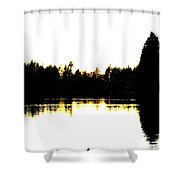 Swan Silhouette Shower Curtain by Will Borden