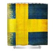Swedish flag Shower Curtain by Setsiri Silapasuwanchai