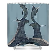Swordfish Sculpture Shower Curtain by DigiArt Diaries by Vicky B Fuller