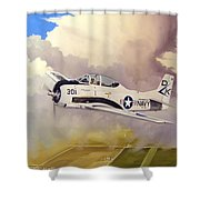 T-28 Over Iowa Shower Curtain by Marc Stewart