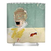 Talking Head Shower Curtain by Cliff Spohn