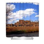 Taos Pueblo Early Spring Shower Curtain by Kurt Van Wagner