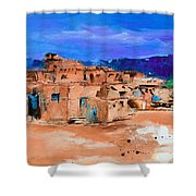 Taos Pueblo Village Shower Curtain by Elise Palmigiani